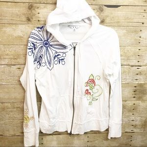 CAbi White Embroidered Hoodie SZ M :G3